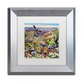 Jenny Newland 'Grand Canyon Babies' Matted Silver Framed Art